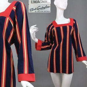 L Vintage 1960s Stripe Mod Mega Mini Dress